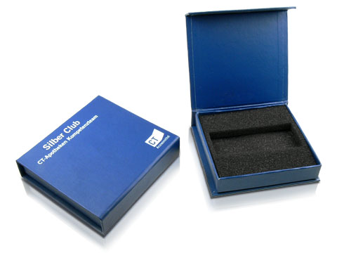 Reference packaging with blue lamination and logo printing