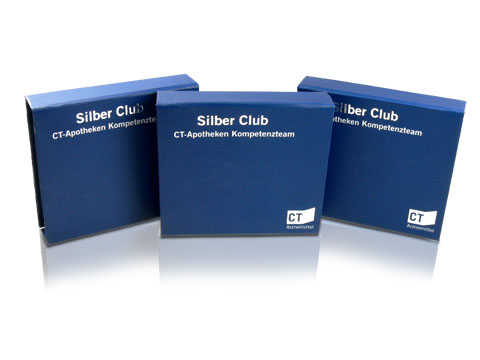 Blue magnet hinged boxes with hot foil embossing