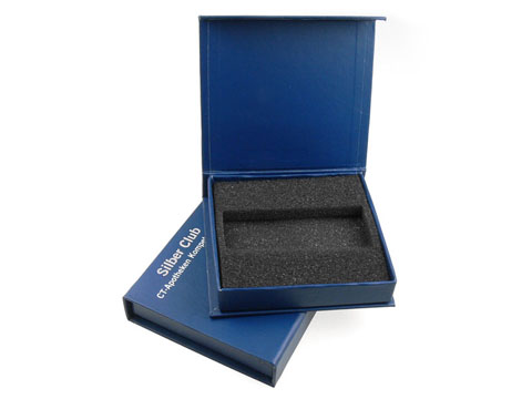 Blue magnet hinged box with logo printing